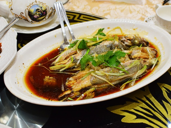 Crown Princess, Double steamed sea bass with ginger and onion