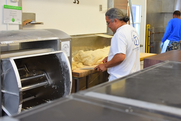 Working and shaping the dough.