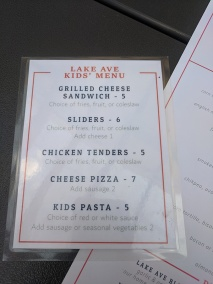 Lake Ave, Kids Menu