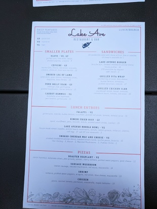 Lake Ave, Lunch Menu
