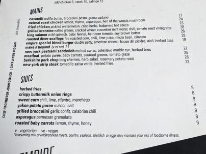 Empire Diner, Dinner menu