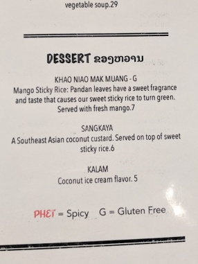 Laos in Town, Menu, Dessert