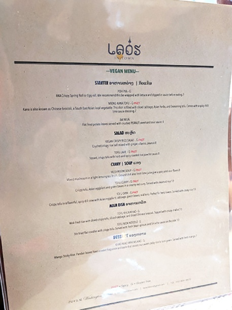 Laos in Town, Vegan menu