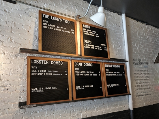 Luke's Lobster, Inside menu