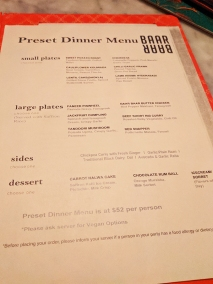 Baar Baar, Preset dinner menu