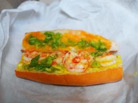 Wild red shrimp, bi-color corn, saffron-lobster sauce.