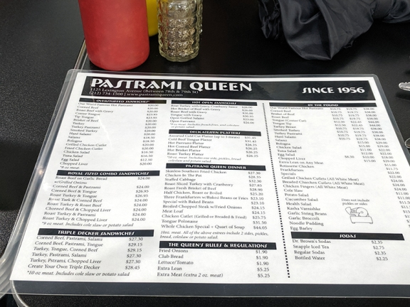 Pastrami Queen, Menu