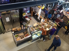 The shop counter part, photographed from above.