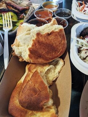 K&C, Pimento, Coco Bread, pulled apart