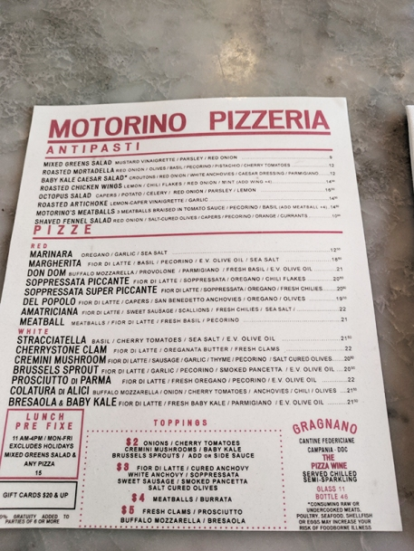 Motorino, Menu