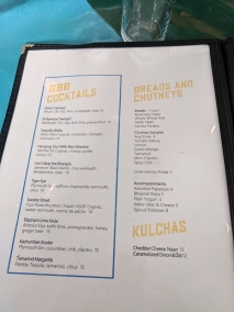 The Bombay Bread Bar, Menu, Cocktails, Breads and Chutneys