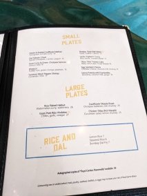 The Bombay Bread Bar, Menu, Small Plates, Large Plates, Rice & Dal