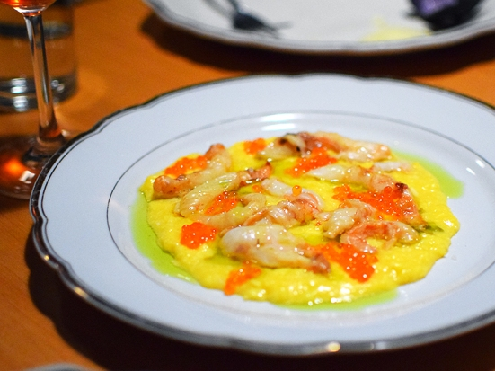 But this was not a salad, Very, very creamy scrambled eggs with spot prawns. What's not to like?
