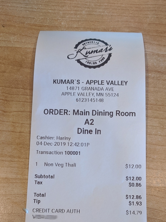 Kumar's Mess, Weekday lunch bill