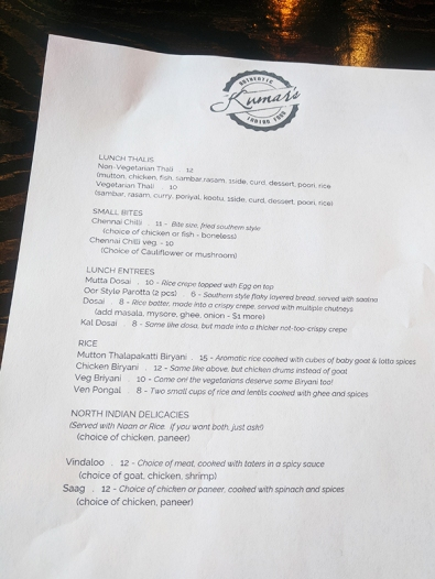 Kumar's Mess, Weekday lunch menu