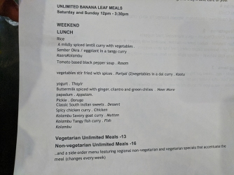 Kumar's Mess, Weekend lunch, Banana leaf meals, details