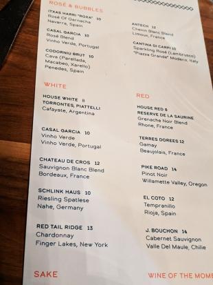 Lat14, Wine list