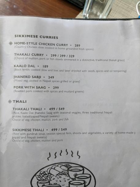 Nimtho, Menu, Sikkimese curries, thalis