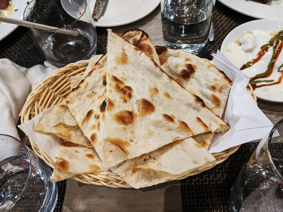 The naans were very good.