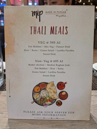 Made in Punjab, Thali Meals