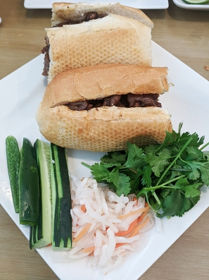 Their banh mi are served deconstructed except for the pork.