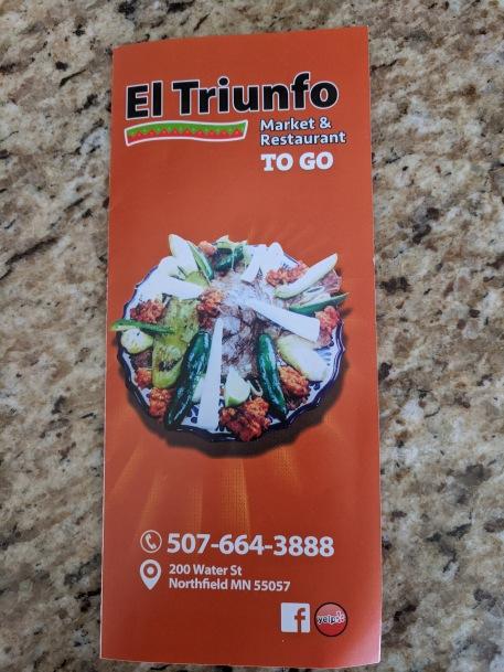 El Triunfo, Takeout menu