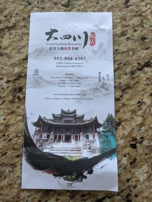 Grand Szechuan, Takeout Menu