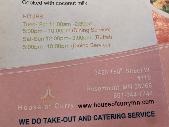 House of Curry, Hours, Number