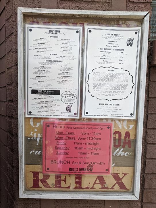Bull's Horn, Normal hours, menu