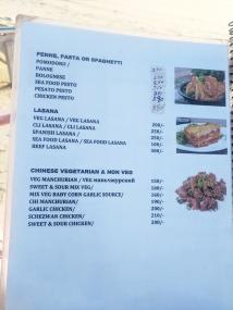 Blue Oasis, Menu, Pasta, Chinese
