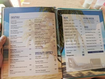 Seaways, Menu, Cocktails, Beer, Wine