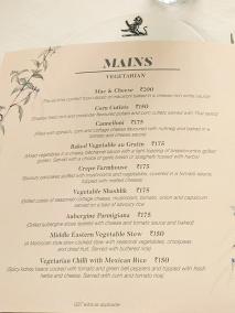 The Belvedere, Menu, Mains--Vegetarian