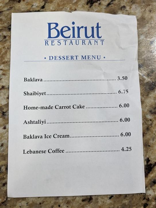 Beirut, Dinner, Dessert