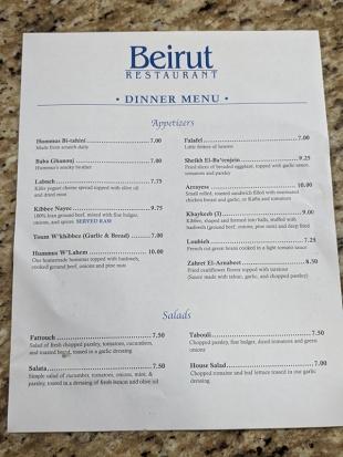 Beirut, Dinner Menu