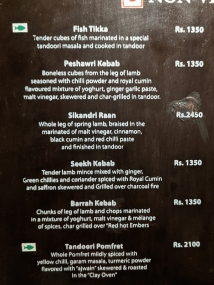 Peshawri, Menu, Meats