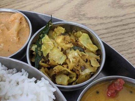 Pre-Pandemic Kabob's Thali, Cabbage poriyal