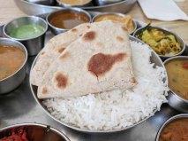Pre-Pandemic Kabob's Thali, Chapati and rice