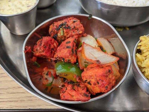 Pre-Pandemic Kabob's Thali, Chicken fry