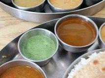 Pre-Pandemic Kabob's Thali, Green chutney, rasam