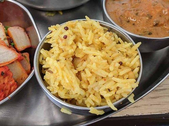 Pre-Pandemic Kabob's Thali, Lemon rice