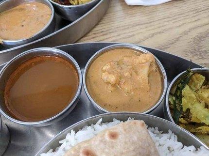 Pre-Pandemic Kabob's Thali, Rasam, Veg curry