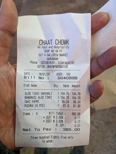 Chaat Chowk, Bill