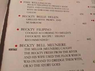 Mocambo, Menu, Beckty!