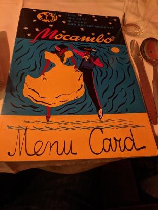 Mocambo, Menu Card