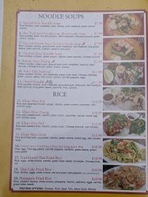 Thai Cafe, Menu, Noodle Soups, Rice