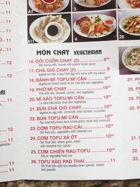 Pho Pasteur, Menu, Mon Chay
