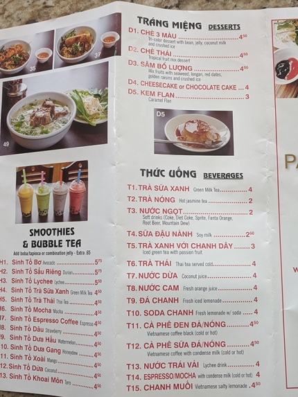 Pho Pasteur, Menu, Smoothies, Desserts, Beverages