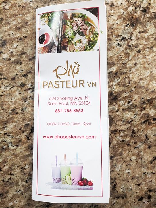 Pho Pasteur, Menu