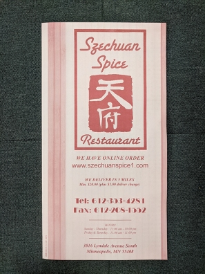 Szechuan Spice, Menu