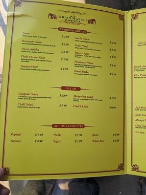Indian Masala, Menu, Breads, Salads, Accompaniments